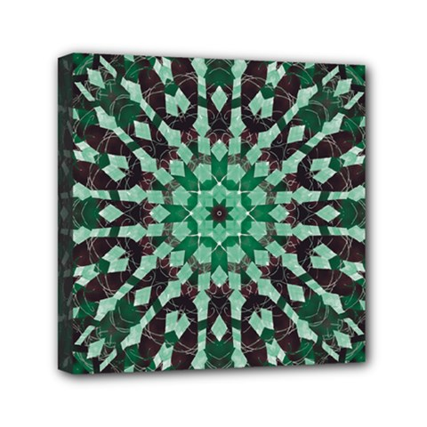 Abstract Green Patterned Wallpaper Background Mini Canvas 6  x 6
