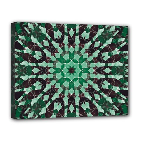 Abstract Green Patterned Wallpaper Background Canvas 14  x 11
