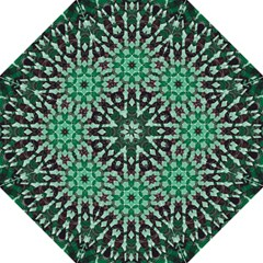 Abstract Green Patterned Wallpaper Background Hook Handle Umbrellas (Large)