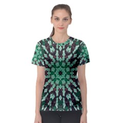 Abstract Green Patterned Wallpaper Background Women s Sport Mesh Tee