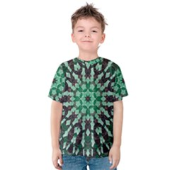 Abstract Green Patterned Wallpaper Background Kids  Cotton Tee