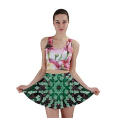Abstract Green Patterned Wallpaper Background Mini Skirt