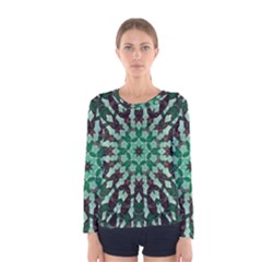 Abstract Green Patterned Wallpaper Background Women s Long Sleeve Tee