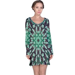 Abstract Green Patterned Wallpaper Background Long Sleeve Nightdress