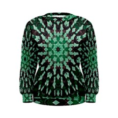 Abstract Green Patterned Wallpaper Background Women s Sweatshirt