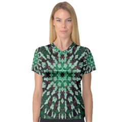 Abstract Green Patterned Wallpaper Background Women s V Neck Sport Mesh Tee