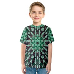 Abstract Green Patterned Wallpaper Background Kids  Sport Mesh Tee