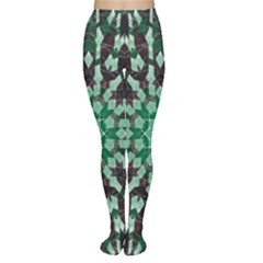 Abstract Green Patterned Wallpaper Background Women s Tights