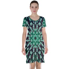 Abstract Green Patterned Wallpaper Background Short Sleeve Nightdress