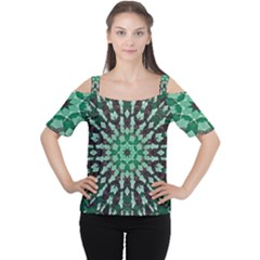 Abstract Green Patterned Wallpaper Background Women s Cutout Shoulder Tee