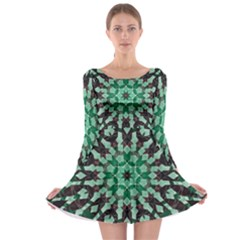 Abstract Green Patterned Wallpaper Background Long Sleeve Skater Dress