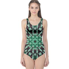 Abstract Green Patterned Wallpaper Background One Piece Swimsuit