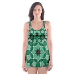 Abstract Green Patterned Wallpaper Background Skater Dress Swimsuit