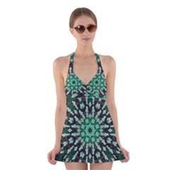 Abstract Green Patterned Wallpaper Background Halter Swimsuit Dress