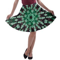 Abstract Green Patterned Wallpaper Background A Line Skater Skirt