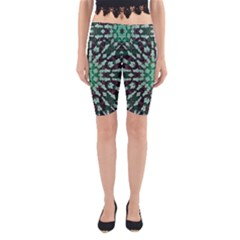 Abstract Green Patterned Wallpaper Background Yoga Cropped Leggings