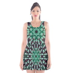 Abstract Green Patterned Wallpaper Background Scoop Neck Skater Dress