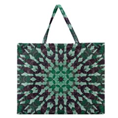 Abstract Green Patterned Wallpaper Background Zipper Large Tote Bag
