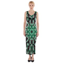 Abstract Green Patterned Wallpaper Background Fitted Maxi Dress