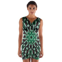 Abstract Green Patterned Wallpaper Background Wrap Front Bodycon Dress