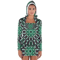 Abstract Green Patterned Wallpaper Background Women s Long Sleeve Hooded T Shirt