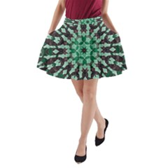 Abstract Green Patterned Wallpaper Background A-Line Pocket Skirt