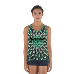 Abstract Green Patterned Wallpaper Background Women s Sport Tank Top