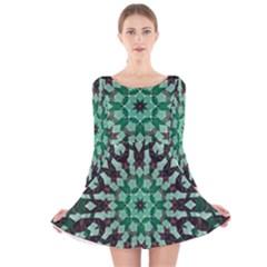 Abstract Green Patterned Wallpaper Background Long Sleeve Velvet Skater Dress