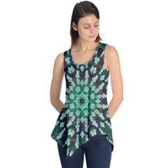 Abstract Green Patterned Wallpaper Background Sleeveless Tunic