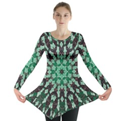 Abstract Green Patterned Wallpaper Background Long Sleeve Tunic