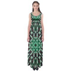 Abstract Green Patterned Wallpaper Background Empire Waist Maxi Dress