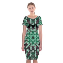 Abstract Green Patterned Wallpaper Background Classic Short Sleeve Midi Dress