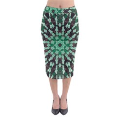 Abstract Green Patterned Wallpaper Background Midi Pencil Skirt