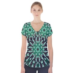 Abstract Green Patterned Wallpaper Background Short Sleeve Front Detail Top