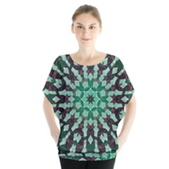 Abstract Green Patterned Wallpaper Background Blouse