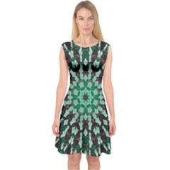 Abstract Green Patterned Wallpaper Background Capsleeve Midi Dress