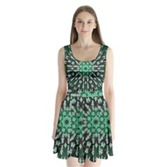 Abstract Green Patterned Wallpaper Background Split Back Mini Dress