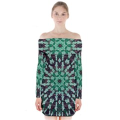 Abstract Green Patterned Wallpaper Background Long Sleeve Off Shoulder Dress