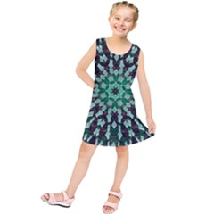 Abstract Green Patterned Wallpaper Background Kids  Tunic Dress