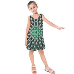Abstract Green Patterned Wallpaper Background Kids  Sleeveless Dress