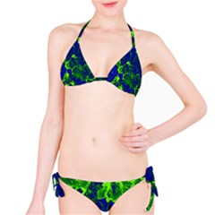 Abstract Green And Blue Background Bikini Set