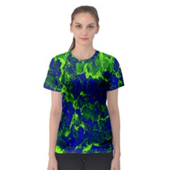 Abstract Green And Blue Background Women s Sport Mesh Tee