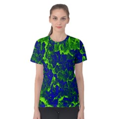 Abstract Green And Blue Background Women s Cotton Tee