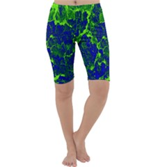Abstract Green And Blue Background Cropped Leggings