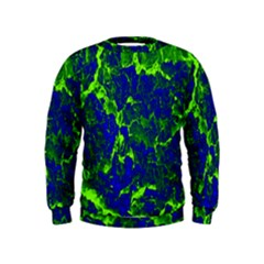 Abstract Green And Blue Background Kids  Sweatshirt