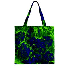 Abstract Green And Blue Background Zipper Grocery Tote Bag