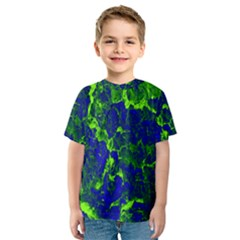 Abstract Green And Blue Background Kids  Sport Mesh Tee