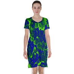Abstract Green And Blue Background Short Sleeve Nightdress
