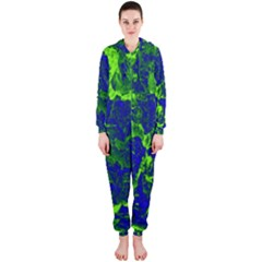 Abstract Green And Blue Background Hooded Jumpsuit (ladies)