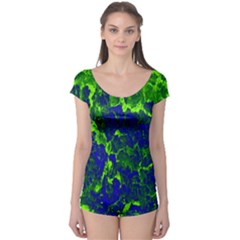 Abstract Green And Blue Background Boyleg Leotard